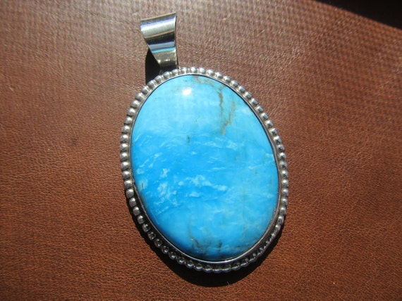 Large Turquoise and Sterling Pendant
