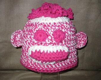 Crocheted Girls Sock Monkey Hat