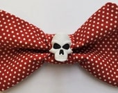 Polka Dot Skull Hair Bow or Bow Tie in Burgundy