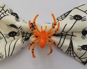 HALLOWEEN Spider Print Hair Bow OR Bow Tie in Black and White