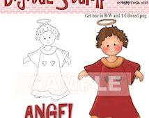 Angel Digital Stamp Instant Download - Spend 20 dollers use code TAKE50OFF Get half Price