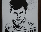 Dexter Morgan graffiti stencil art on large 16x20 canvas