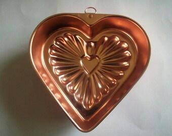 Copper jello mold heart shape
