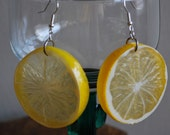 Lemon Slice Earrings yellow plastic fruit