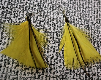 Canary Yellow Feather Earrings