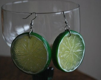 Lime Slice Earrings Green Plastic Fruit