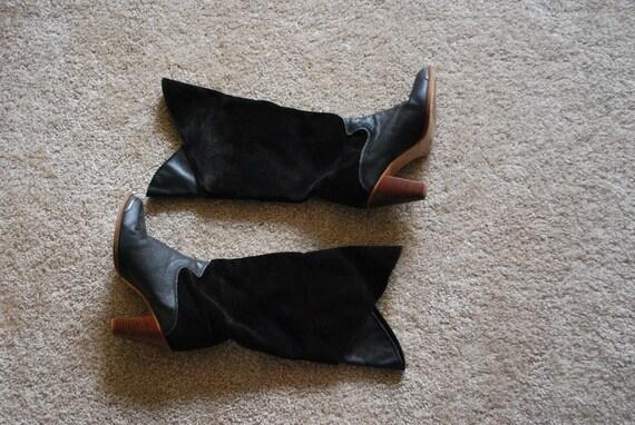 Vintage Black Leather & Suede Boots size 7