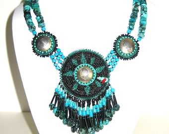 Bear Sky Necklace. Turquoise and seed beads