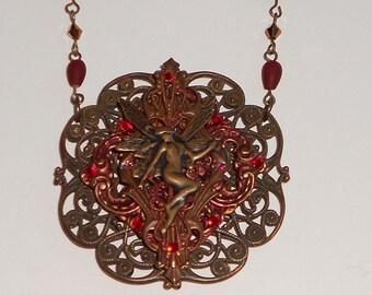 Swarovski Ruby-Fairy Pendant Necklace