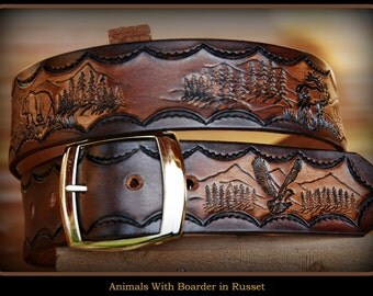 Personalized Mens Leather Western Belt, Russet Color, With Background, Salmon, Wolf, Elk, Deer, Grizzly Bear and Bald Eagle, Hand Made