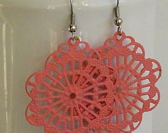 SALE -  Handpainted  Sweet Melon color filigree  earrings