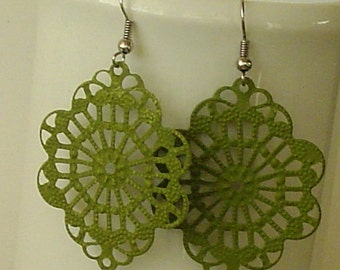 SALE -  Hand Painted  Forest Moss Green color filigree  earrings