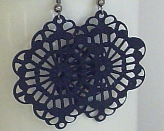 SALE -  Hand Painted -  Black color filigree  earrings
