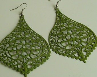 SALE - New Style -  Handpainted Forest Moss  big bold boho chic  lacy filligree earrings.