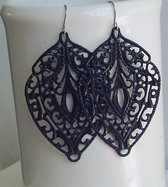 SALE - Black color - Handpainted faux patina, filigree stamping, leaf  filigree earrings