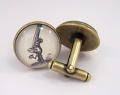Cuff Links Antique Brass Round Vintage Microscope