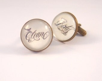 Cuff Links Antique Brass Round Clean and Dirty