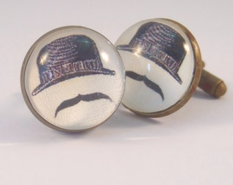 Cuff Links Antique Brass Round Bowler Hat and Moustache