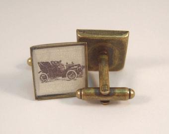 Antique Brass Cufflinks Edwardian Vintage Car MADE TO ORDER