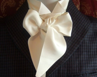 Victorian Bow Tie Cravat Ascot in Natural White 100% Dupion Silk