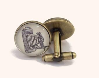 Cuff Links Antique Brass Round Vintage Camera