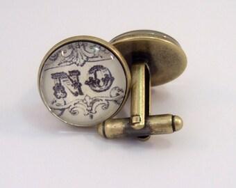Cuff Links Antique Brass Round Vintage 'No'