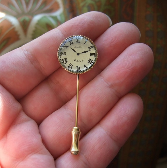 Clock Watch Gold Plated Tie Cravat Lapel Pin Brooch Stick Pin