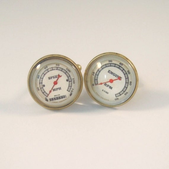 Cuff Links Antique Brass Round Speedometer and Tachometer