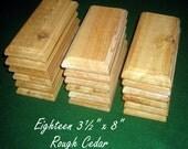 """18 Piece 3.5"""" x 8"""" Rough Cedar Plaques Signs Bases"""