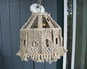Vintage 1973 Macrame white swag lamp Chandelier with glass beads OOAK