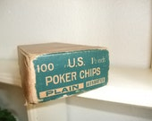 "Vintage Box of 100 U.S. Poker Chips Plain 1 1/2""  Composition Poker Chips 1940's"