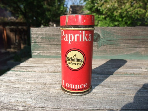 RED Vintage Schilling 1 Oz Paprica Can, Spice Tin circa 1930's