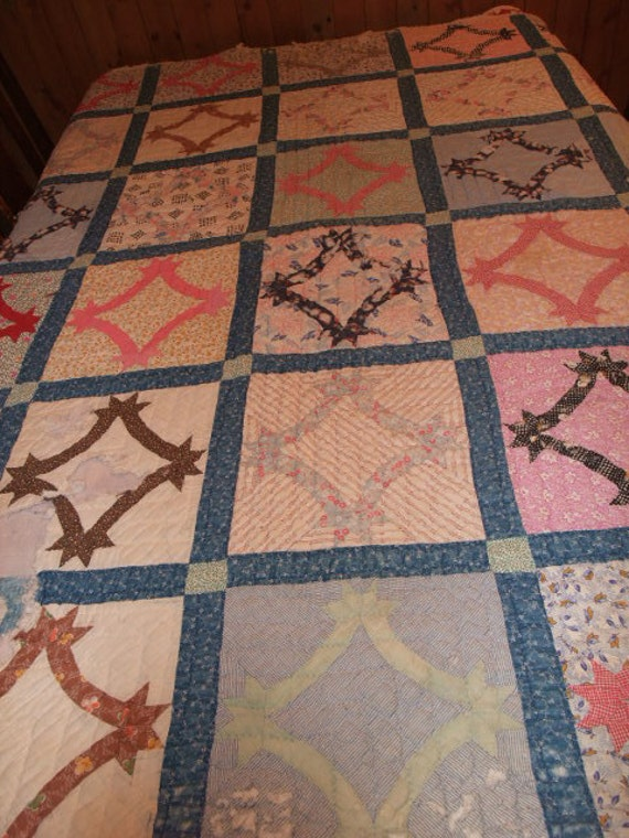"""colorful Vintage CUTTER QUILT 64"""" x 76"""" circa 1920's Hand made Hand Quilted"""