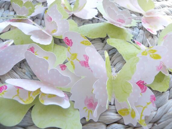 "Paper Butterflies - 3 Layers - ""ShabbyRose"" Set"