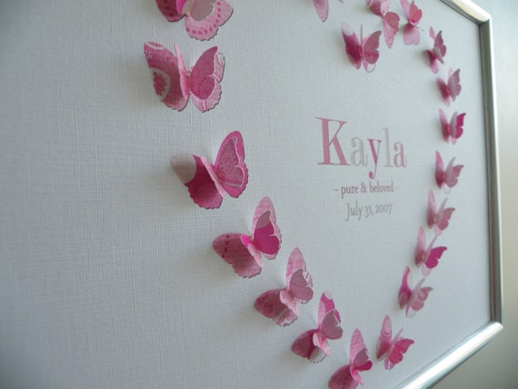 """Baby or Child's Name Personalised Art Prints 3d Butterflies - """"Awareness"""" Set"""