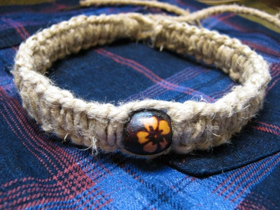 thick hemp necklace, choker with wooden bead