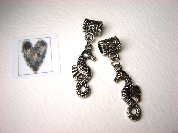 Tibetan Silver Charms, 'Seahorse' Charms 2 on fancy Bails, Jewellery Embellishments, Jewellery Making, Supplies. UK