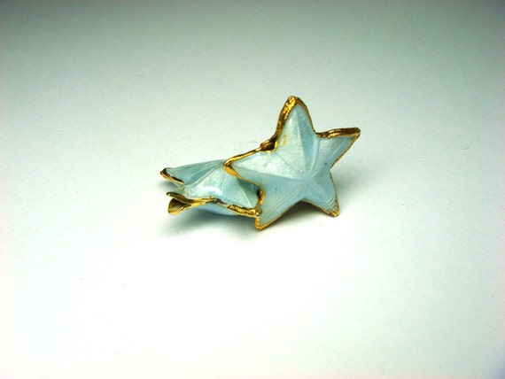 Goldplated, Enameled Star Beads - 2pcs Jewellery Supplies, UK Seller.