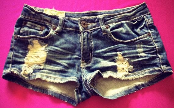 Distressed Blue Denim Shorts Size 00-1