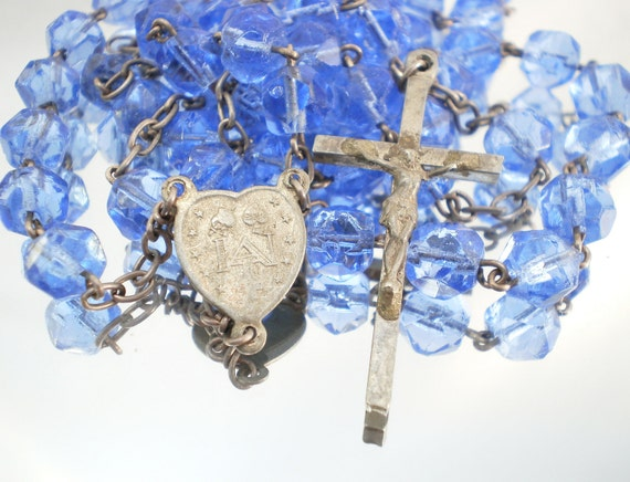 Long Catholic Rosary with Transparent Blue Glass Beads (P)