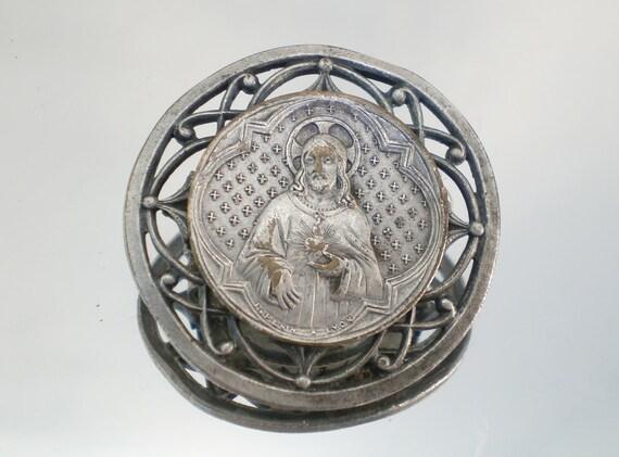 Old Brooch with Jesus Sacred Heart Medal