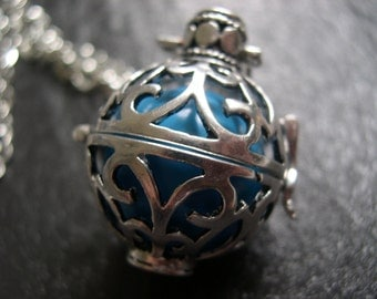 Silver Pregnancy Necklace, Mexican Bola Harmony Ball Necklace in Blue. Christmas gift