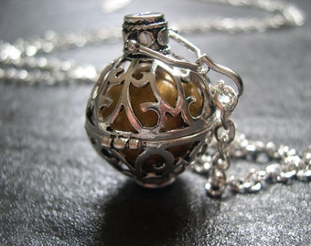 Silver Pregnancy/Maternity Necklace, Mexican Bola Harmony Ball Necklace with Gold Bola Ball