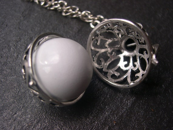 Silver Pregnancy/Maternity Necklace, Mexican Bola Necklace with two bola balls