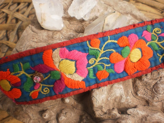 Vintage Textile Cuff Handmade With Hmong Embroidery