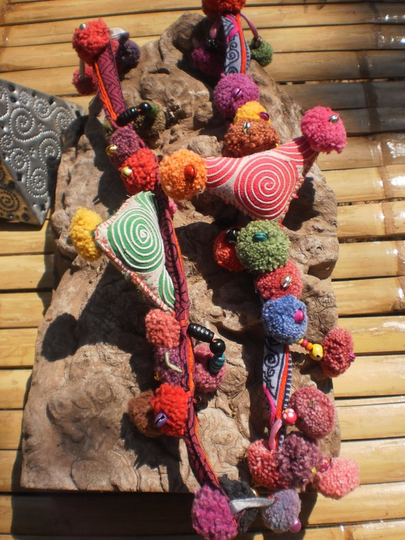 2 Dreadlock Hairties Made from Hmong Hilltribe Textile, Beads and PomPom You Get 2 Hair tie