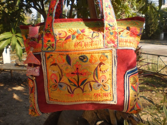 Hmong Tribal  Bag  Handmade With Upcycled Hmong  Vintage TextileANGELES