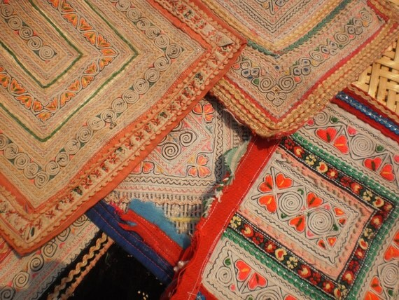 Hmong Tribal Textile 5 Hand Embroided Pieces