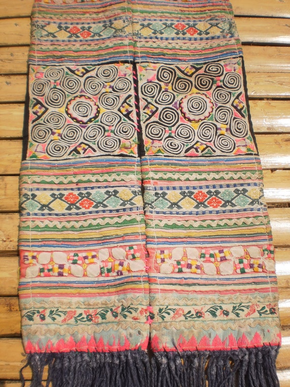 Embroided Spiral Textile Tribal  Panel By The Hmong Hilltribe People