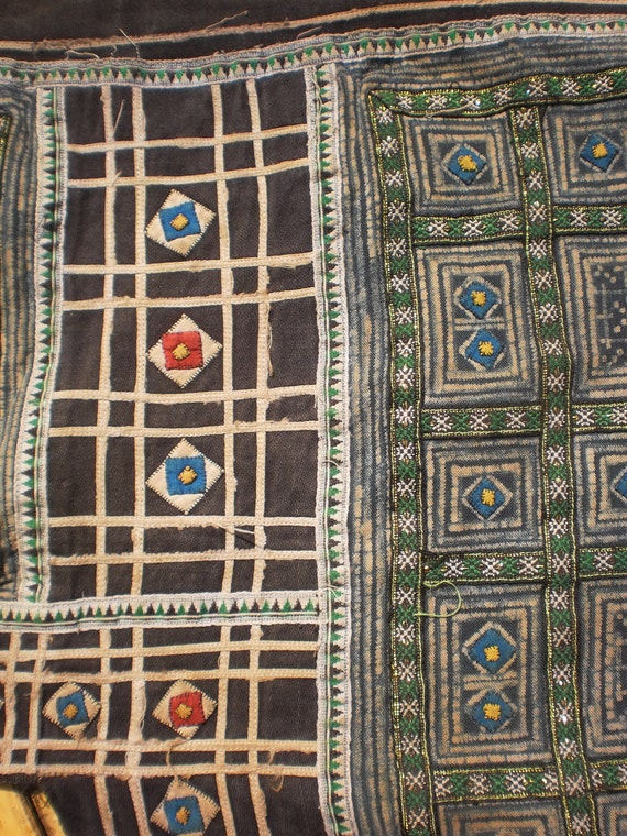 Hmong Vintage Tribal Indigo Batik And Hand Embroidery